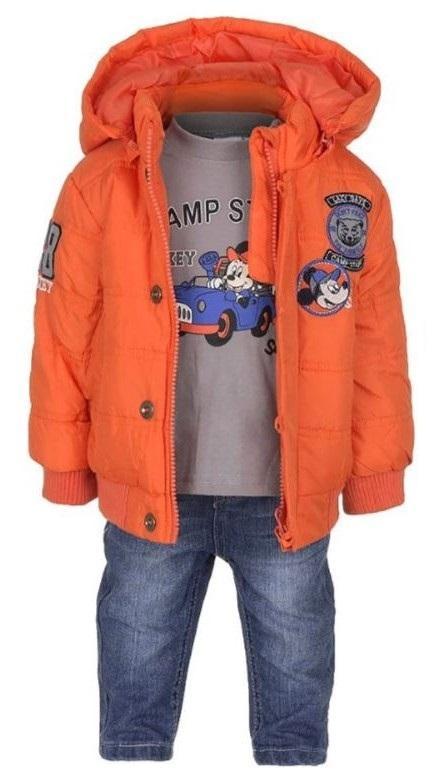 KOMPLET BUNDA, TRIKO A DŽÍNY MICKEY baby aph 0241 oranžový